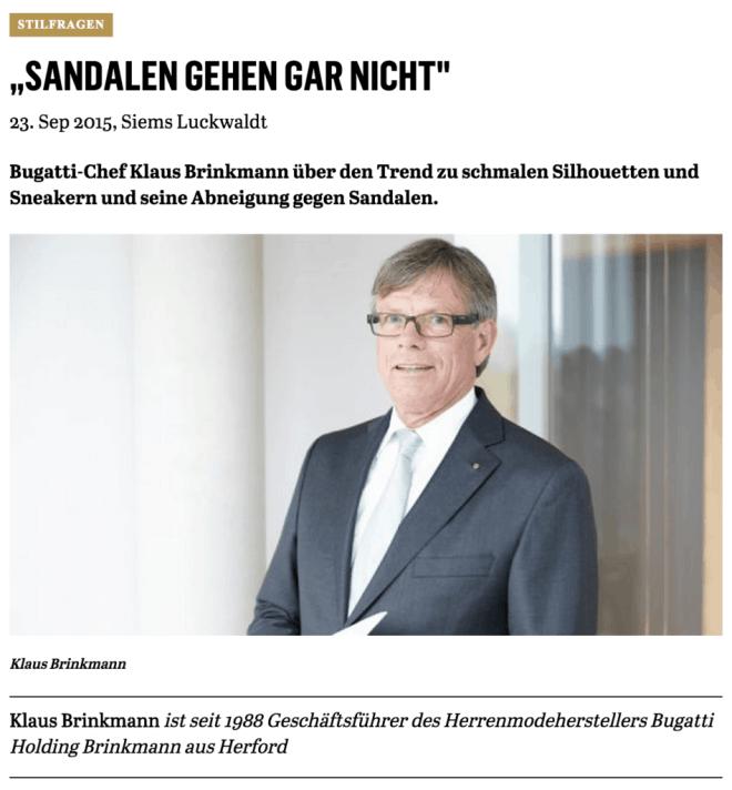 Was Mann trägt: Klaus Brinkmann, Bugatti Holding Brinkmann (für Capital.de)