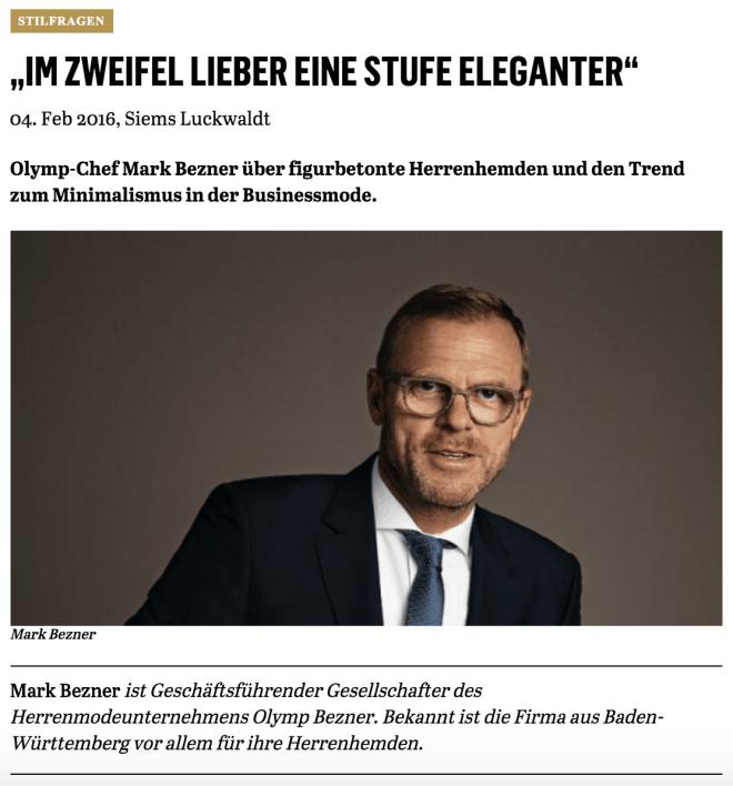 Was Mann trägt: Mark Bezner, Olymp (für Capital.de)
