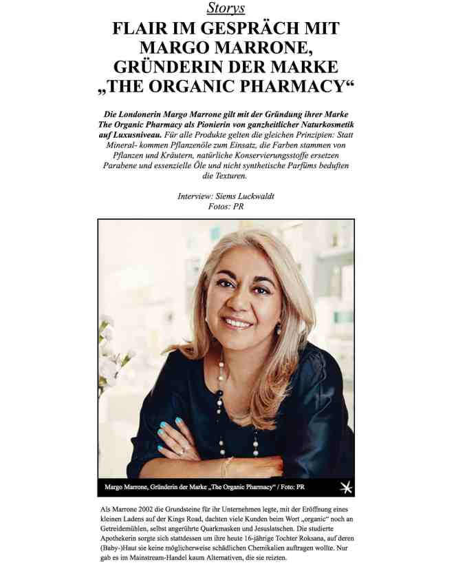 Interview: Margo Marrone, The Organic Pharmacy (für Flair)