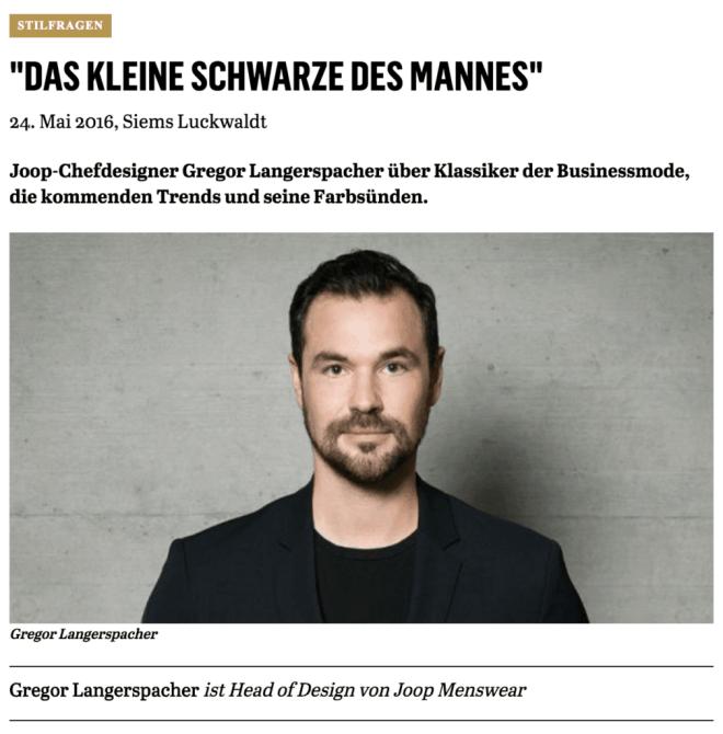 Was Mann trägt: Gregor Langerspacher, Joop! (für Capital.de)