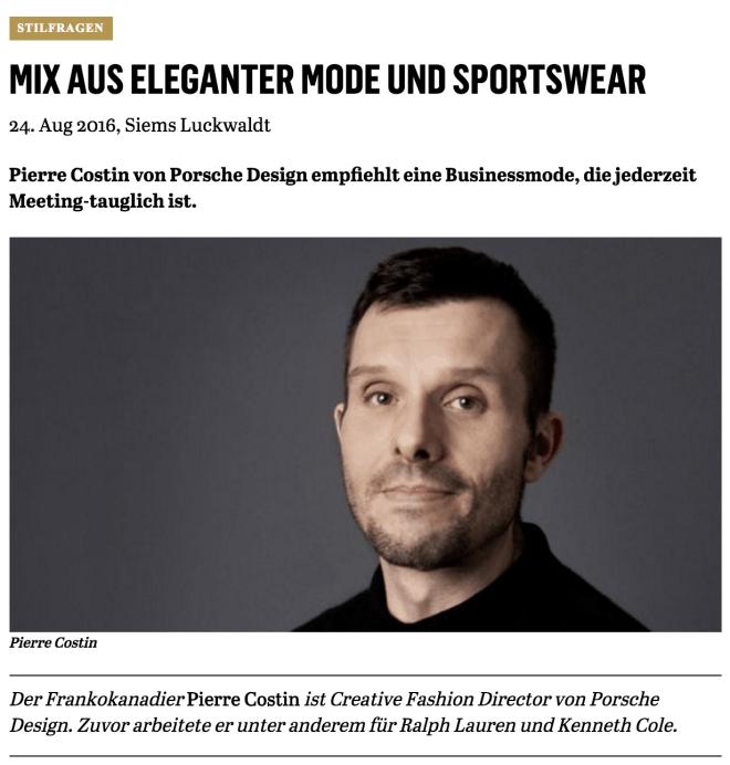 Was Mann trägt: Pierre Costin, Porsche Design