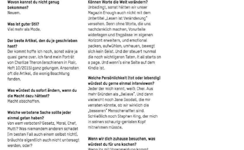 Me in the News: Interview mit dem Muxmäuschen Magazin