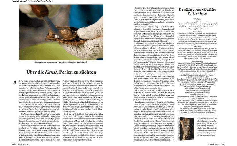 Über die Kunst, Perlen zu züchten (für Robb Report)