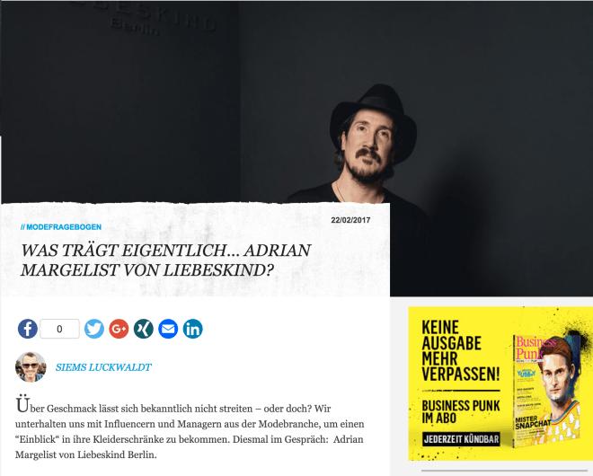 Was trägt eigentlich Adrian Margelist von Liebeskind Berlin (für Business-Punk.com)