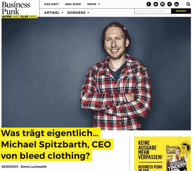 Was trägt eigentlich Michael Spitzbarth, bleed clothing (für Business-Punk.com)