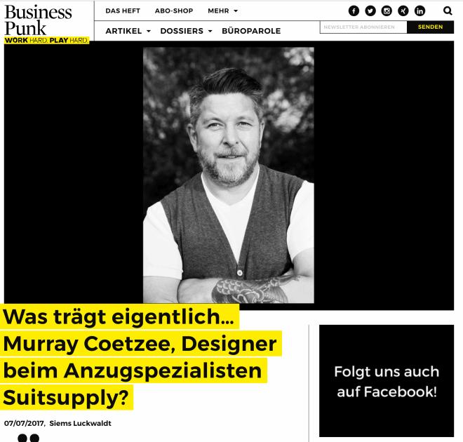 Was trägt eigentlich Murray Coetzee, Suitsupply (für Business-Punk.com)