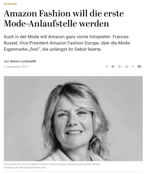 Interview: Frances Russel, Amazon Fashion (für Capital.de)