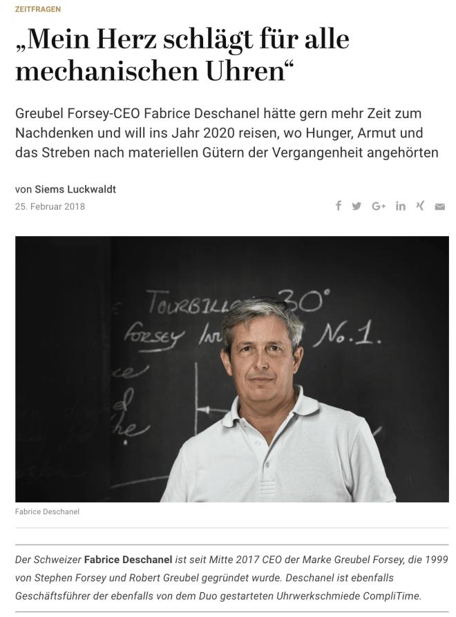 Zeitfragen: Fabrice Deschanel, Greubel Forsey (für Capital.de)