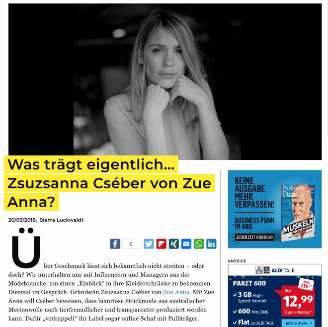 Was trägt eigentlich: Zsuzsanna Cséber von Zue Anna?