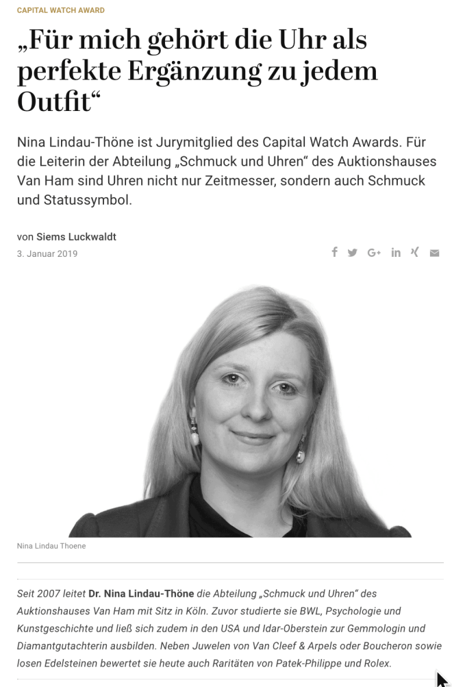 Capital Watch Award 2018: Meet the Jury – Dr. Nina Lindau-Thöne (für Capital.de)