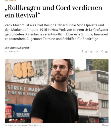 Was Mann trägt: Zack Moscot (für Capital.de)