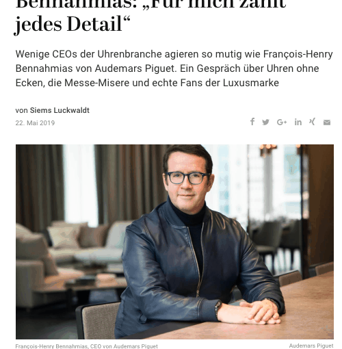 Interview: François-Henry Bennahmias, Audemars Piguet (für Capital.de)
