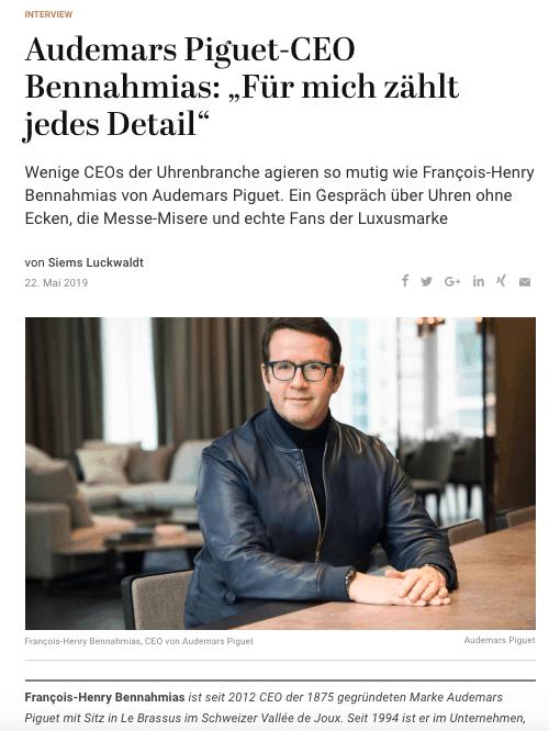 Interview: François-Henry Bennahmias, Audemars Piguet (für Capital.de)