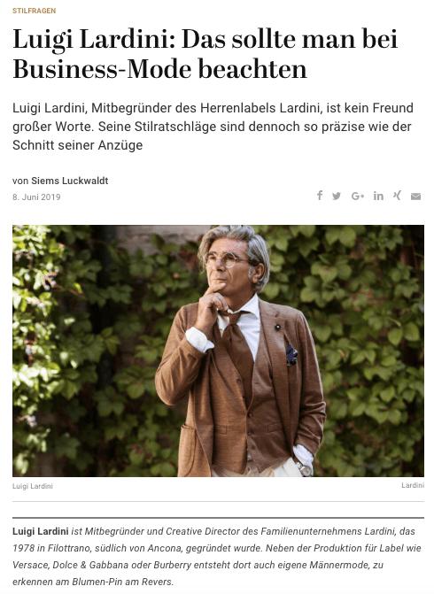 Was Mann trägt: Luigi Lardini (für Capital.de)
