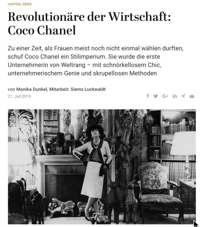 Revolutionäre der Wirtschaft: Coco Chanel (für Capital)
