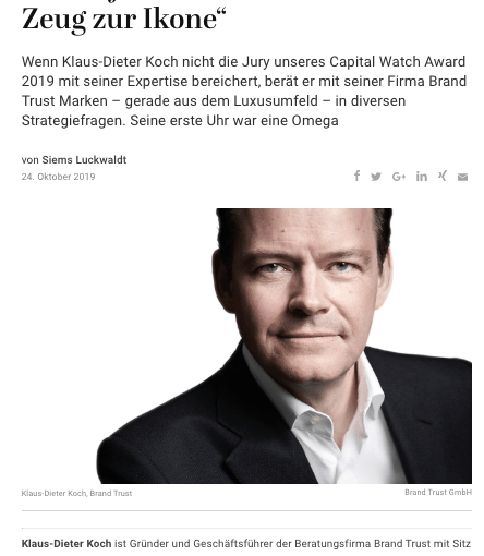 Capital Watch Award 2019: Meet the Jury – Klaus-Dieter Koch, BrandTrust (für Capital.de)