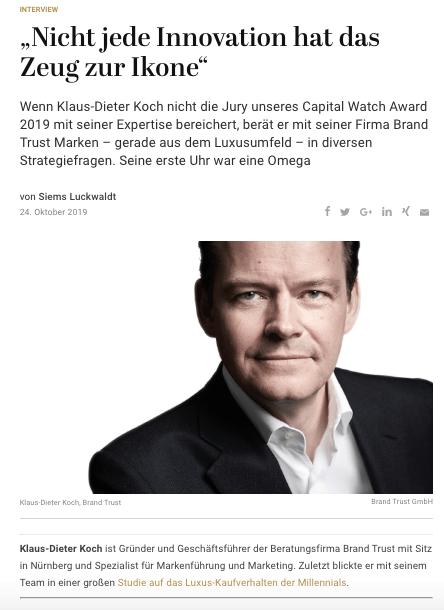 Capital Watch Award 2019: Meet the Jury – Klaus-Dieter Koch, BrandTrust (für Capital.de)