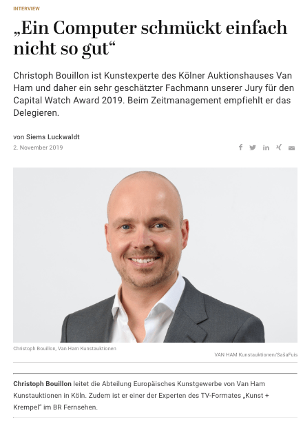 Capital Watch Award 2019: Meet the Jury – Christoph Bouillon, Van Ham (für Capital.de)