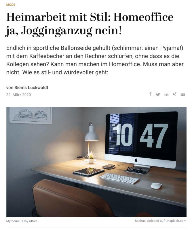Homeoffice mit Stil (für Capital.de)