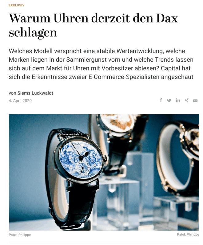 Warum Uhren derzeit den Dax schlagen (für Capital.de)