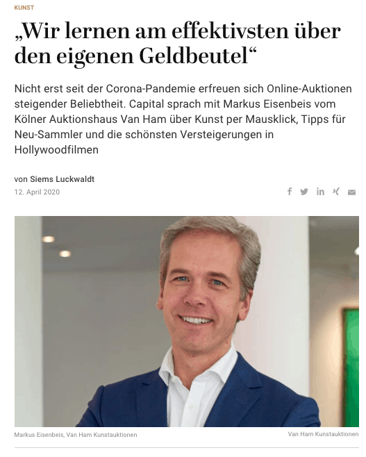 Interview: Markus Eisenbeis, Van Ham Kunstauktionen (für Capital.de)