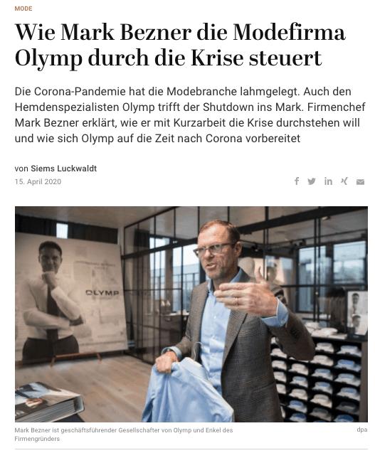 Wie Mark Bezner Olymp durch die Krise steuert (für Capital.de)