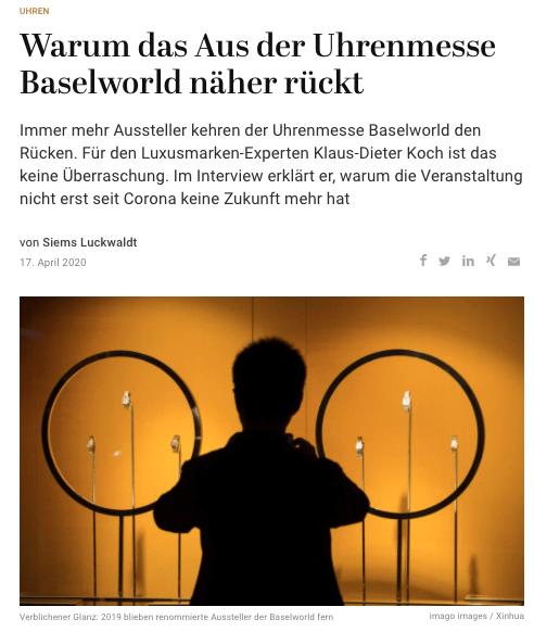Baselworld vor dem Aus (für Capital.de)