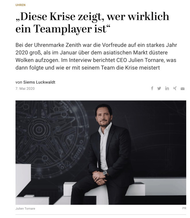 Interview: Julien Tornare, Zenith (für Capital.de)