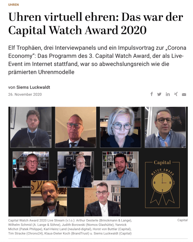 Uhren virtuell ehren: Capital Watch Award 2020 als Live-Stream (für Capital.de)