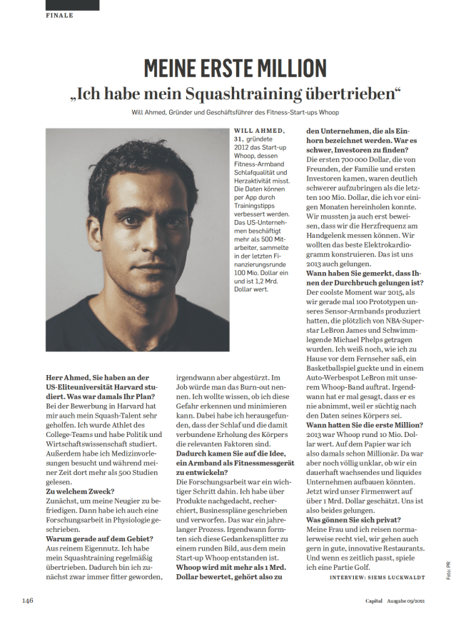 Interview: Will Ahmed, Whoop (für Capital)