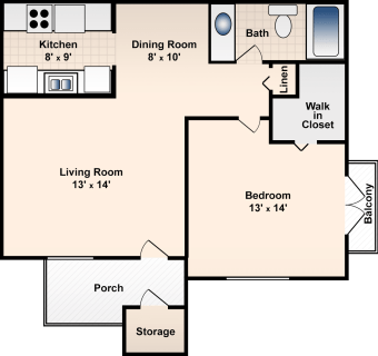 1 Bed / 1 Bath / 670 sq ft / Deposit: $300 / Rent: $585