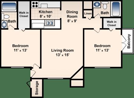 2 Bed / 2 Bath / 917 sq ft / Deposit: $300 / Rent: $765