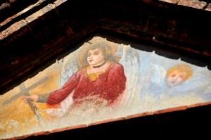 Image showing a fresco of angel and cherub in torrita di siena val di chiana