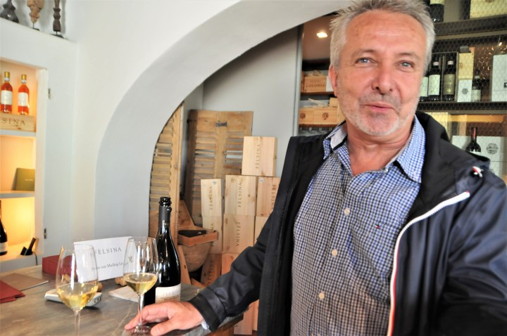 A rare bird the Tuscan white; Malvin tasting some delicious vintage bubbles at Felsina in Chianti