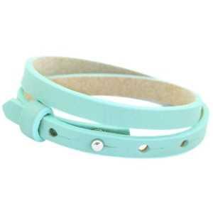 Aqua Leren Armband Ava met zeeuwse knop