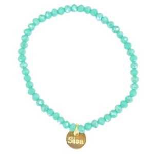 Top facet armbandje Sisa 4x3mm Turquoise groen opaque