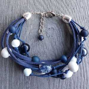 Armband Riley van blauw witte kralen