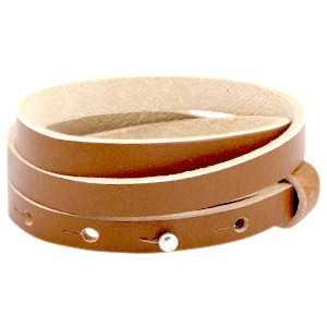 Leren armband Ava met zeeuwse knop 3 dubbel cognac