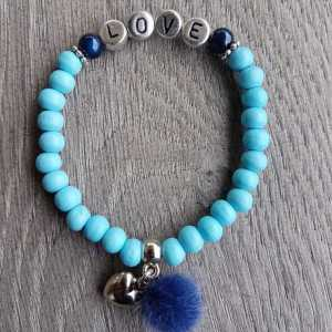 Armband Silvie turquoise met naam en pompon