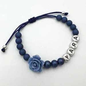 Ibiza armband Evi met naam blauw