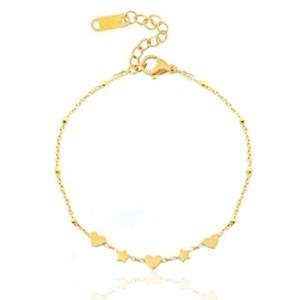Roestvrij stalen (RVS) Stainless steel armbanden hearts & stars goud