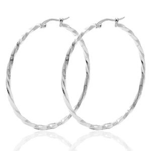 Roestvrij stalen (RVS) Stainless steel oorbellen creolen 50mm twist zilver
