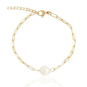 Roestvrij stalen (RVS) Stainless steel armband pearl Goud