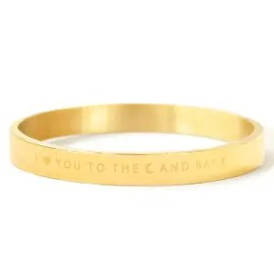 """RVS armband """"I LOVE YOU TO THE MOON AND BACK"""" goud (4mm)"""