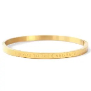 "RVS armband ""I LOVE YOU TO THE MOON AND BACK"" goud (4mm)"