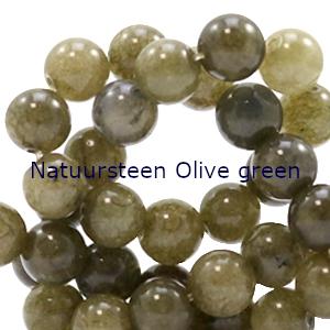 natuursteen kralen rond Olive green