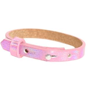 Verstelbare armband leer kids 8mm Holographic pink