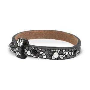 Verstelbare armband leer kids mosaic Black