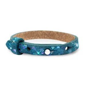 Verstelbare armband leer kids mosaic Night tide green