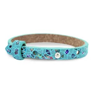 Cuoio armband leer kids mosaic Turquoise